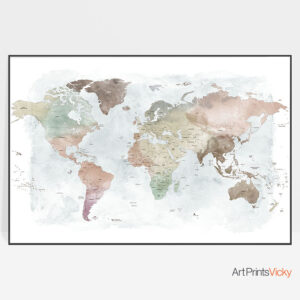 Travel map watercolor poster pastel