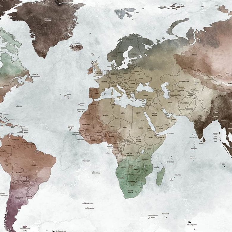 Large world map poster detailed close up