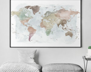 Travel map watercolor poster pastel second