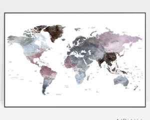 Travel map art watercolor purple grey