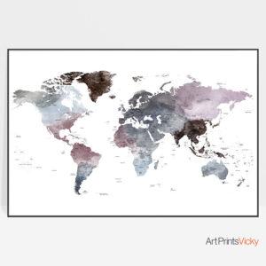 Travel map art watercolor purple grey
