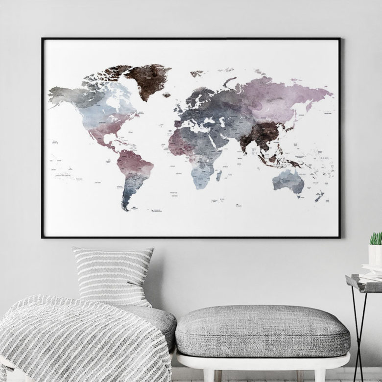 Travel map art watercolor purple grey second