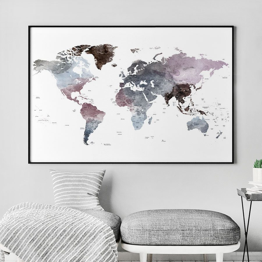 Travel map art watercolor purple grey second