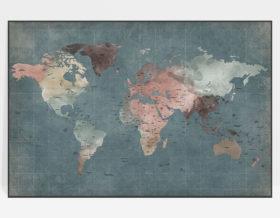 Large world map poster retro