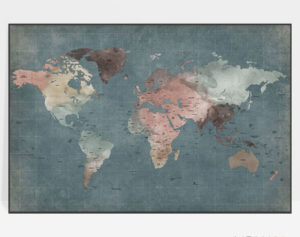 Large world map poster retro