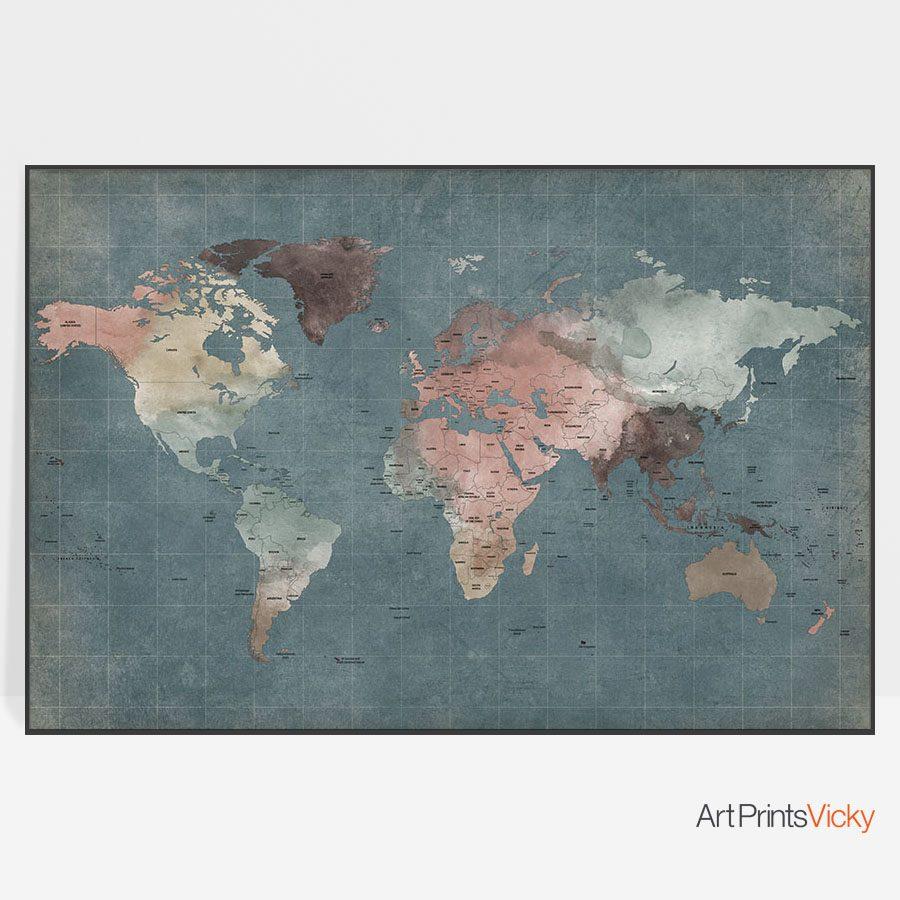 Large world map poster retro artprintsvicky large world map poster retro gumiabroncs Images