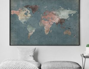 Large world map poster retro second