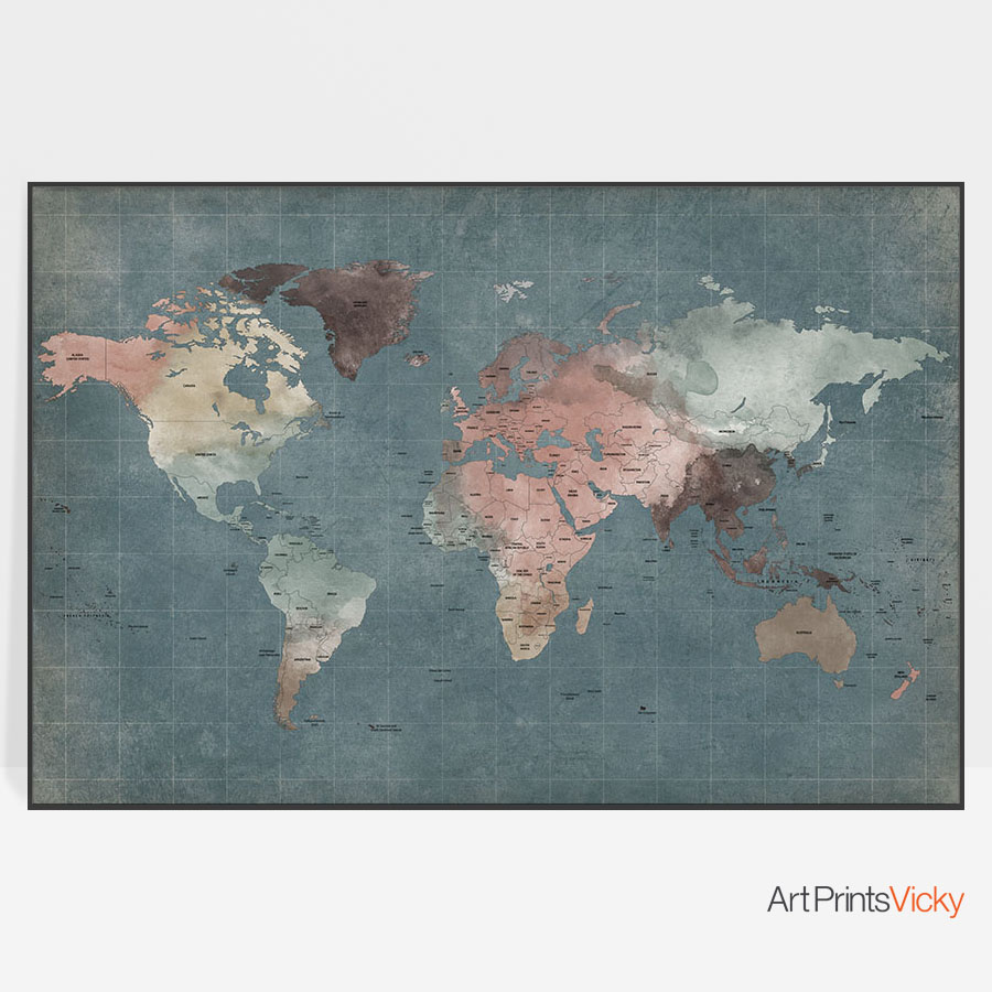 Large world map poster retro | Art Prints Vicky