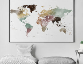 Large world map poster watercolor 1 detailed second