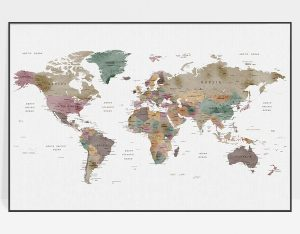 Large world map watercolor poster