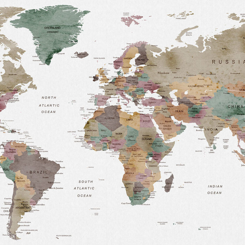 Large world map watercolor poster mute colors detail