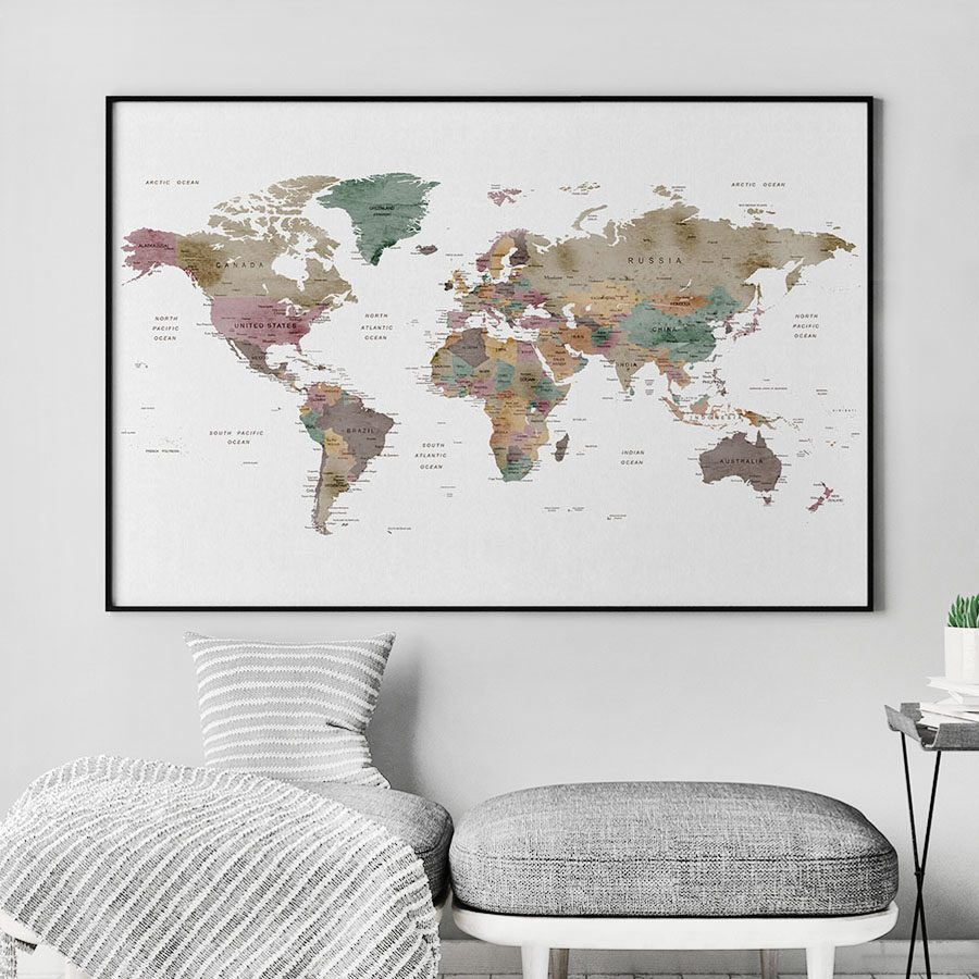 Large world map watercolor poster artprintsvicky large world map watercolor poster second gumiabroncs Gallery