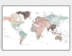 Large world map poster white pastel