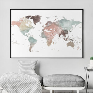 Large world map poster white pastel second