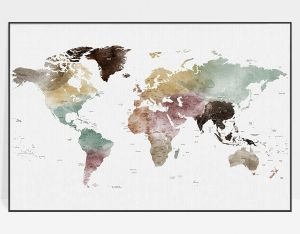 World map print watercolor