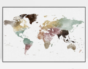 Large world map poster watercolor 1 detailed