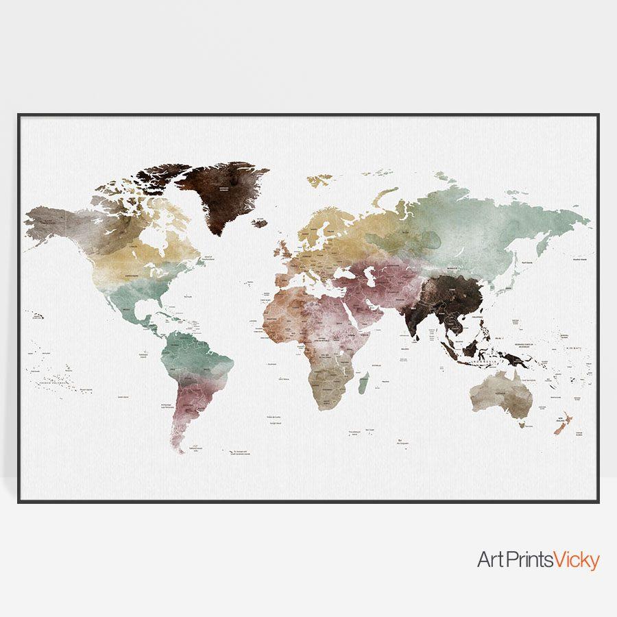 World map print watercolor