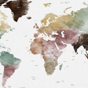 Large world map poster watercolor 1 detailed detail