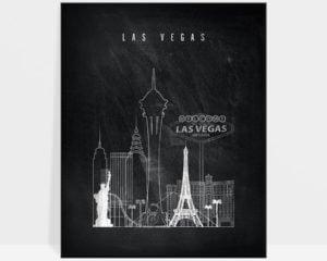 Las Vegas chalkboard black white skyline print