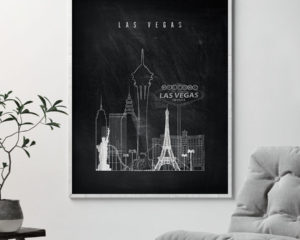 Las Vegas chalkboard black white skyline print second