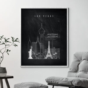 Las Vegas chalkboard black white skyline print second