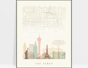 Las Vegas map print poster pastel cream