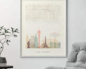 Las Vegas map print poster pastel cream second