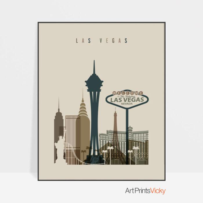 Las Vegas art print earth tones 3