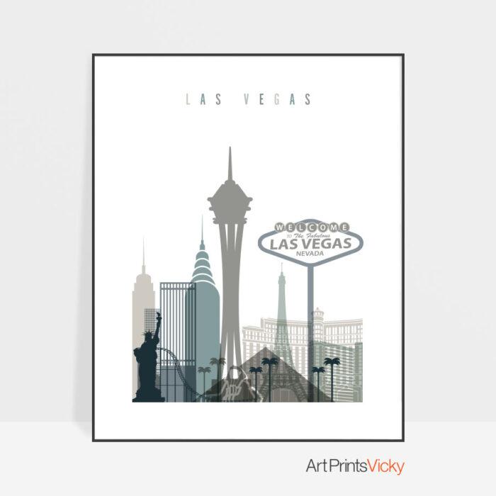 Las Vegas art print skyline earth tones 4