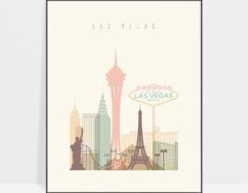 Las Vegas art print skyline pastel cream