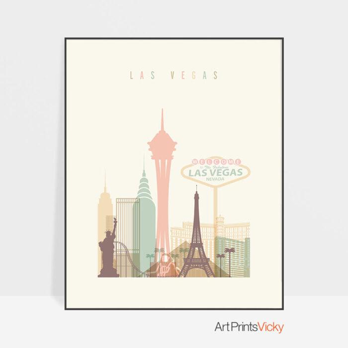 Las Vegas Skyline Print Pastel Cream