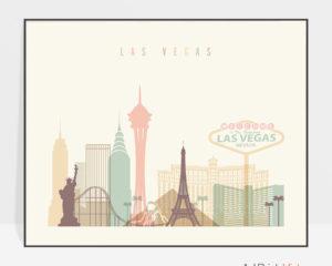 Las Vegas travel poster pastel cream landscape