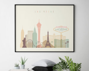 Las Vegas travel poster pastel cream landscape second