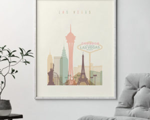 Las Vegas art print skyline pastel cream second