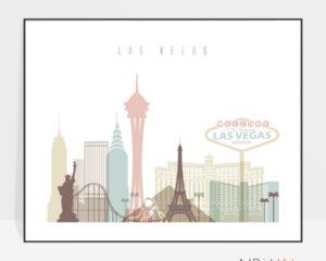 Las Vegas wall art pastel white landscape