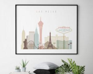 Las Vegas wall art pastel white landscape second