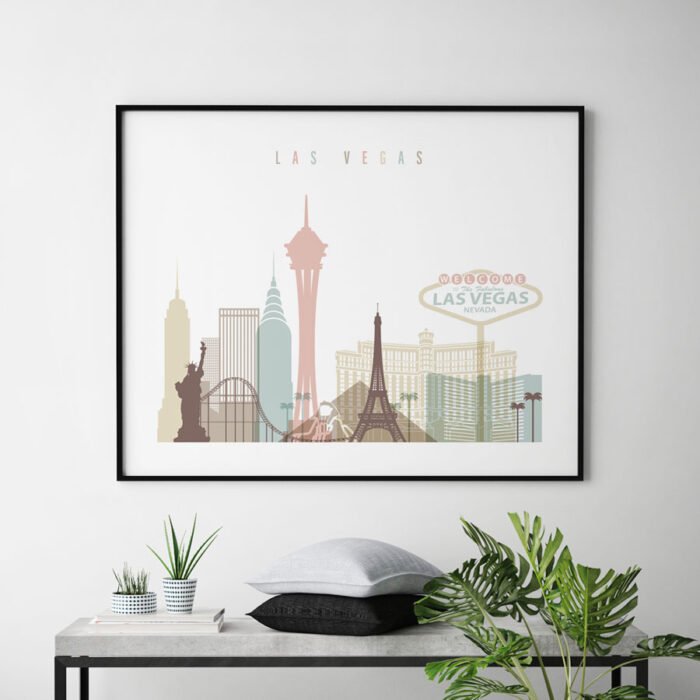 Las Vegas wall art pastel white landscape second