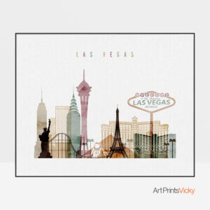 Las Vegas skyline poster watercolor 1 landscape
