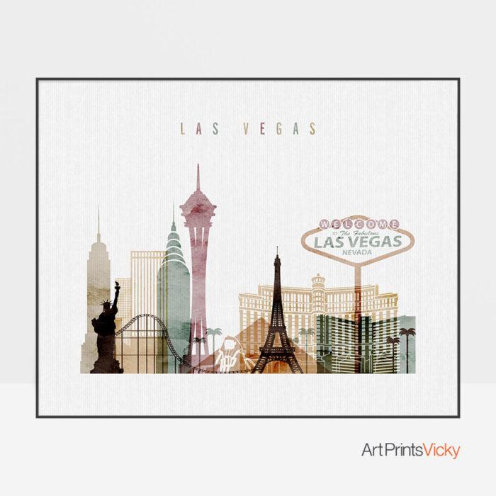Las Vegas skyline poster watercolor 1 landscape