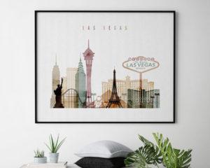 Las Vegas skyline poster watercolor 1 landscape second