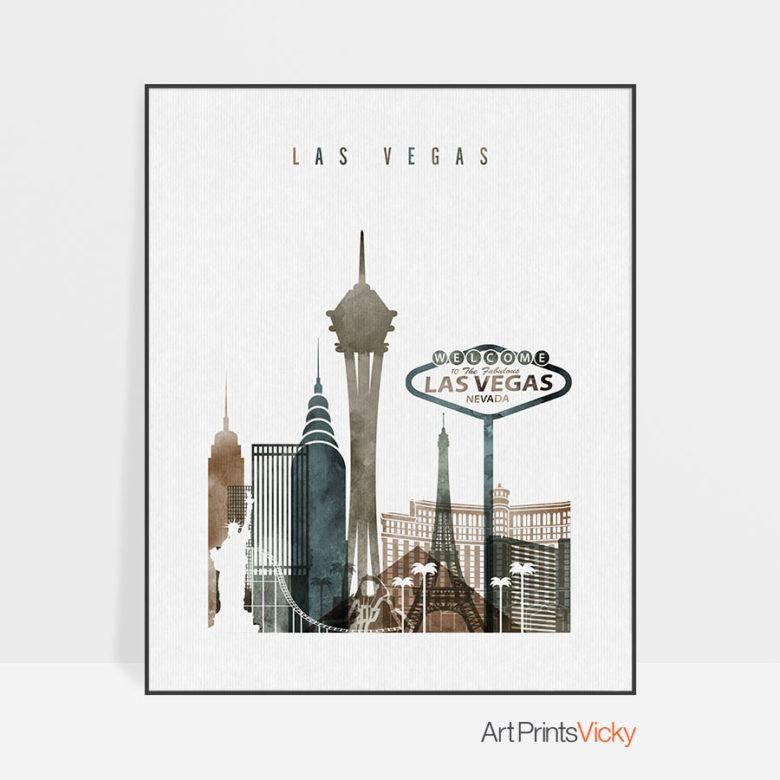 Las Vegas art print watercolor 2