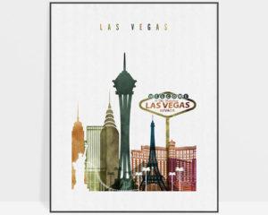 Las Vegas skyline art watercolor 3