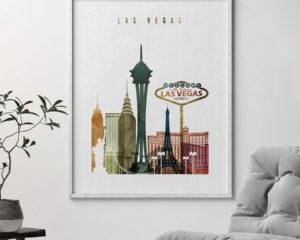 Las Vegas skyline art watercolor 3 second