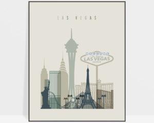 Las Vegas print skyline earth tones 1