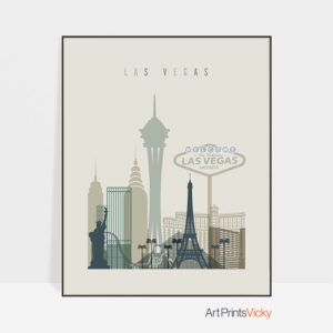 Las Vegas print skyline earth tones 1