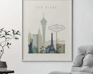 Las Vegas print skyline earth tones 1 second