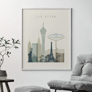 Las Vegas print skyline earth tones 1 second