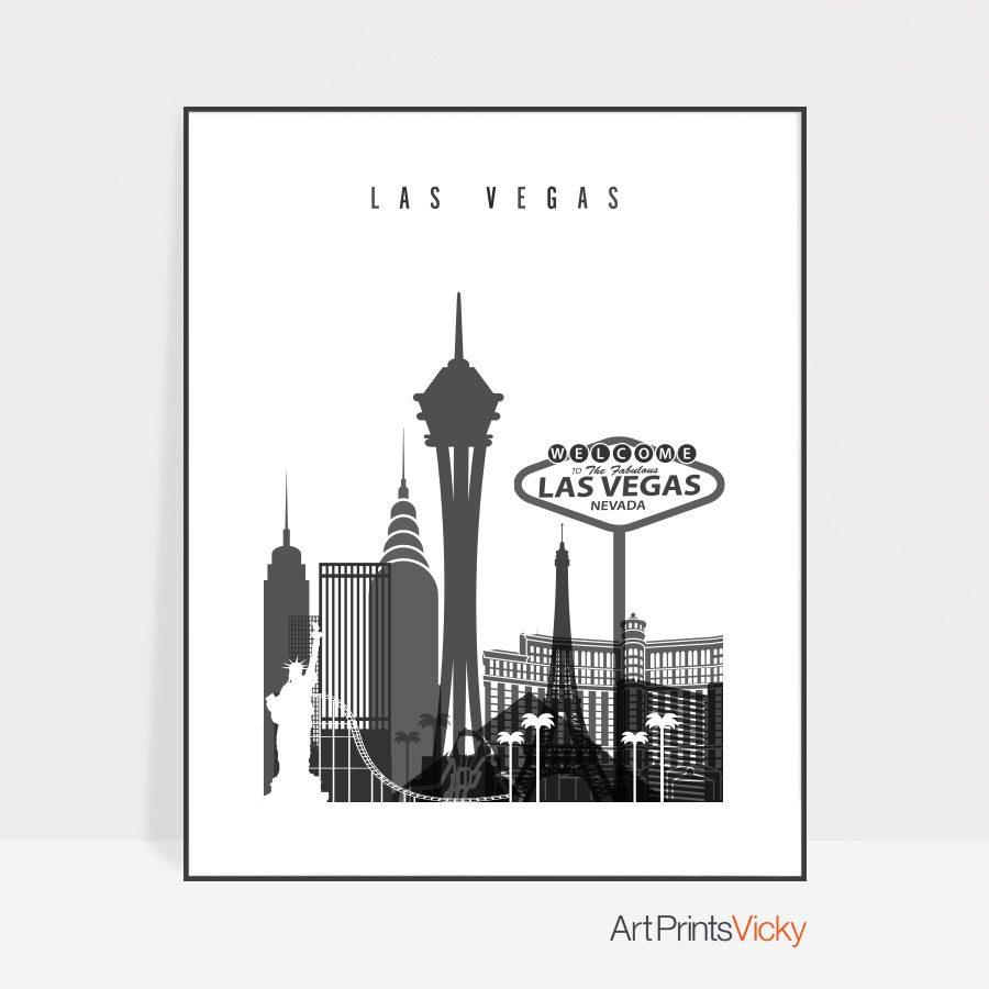 Las Vegas skyline black and white art