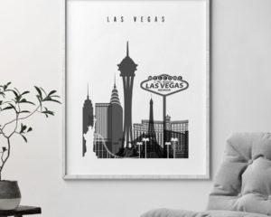 Las Vegas skyline black and white art second