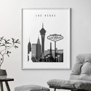 Las Vegas skyline black and white art second